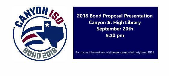 Invitation to Community Bond Presentation on 9 20 18