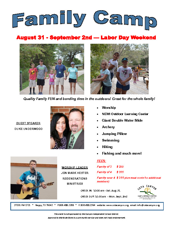 Family Camp at Ceta Canyon Sat Aug 31  Sept 2nd Labor Day WeekendQuality Family FUN and bonding time