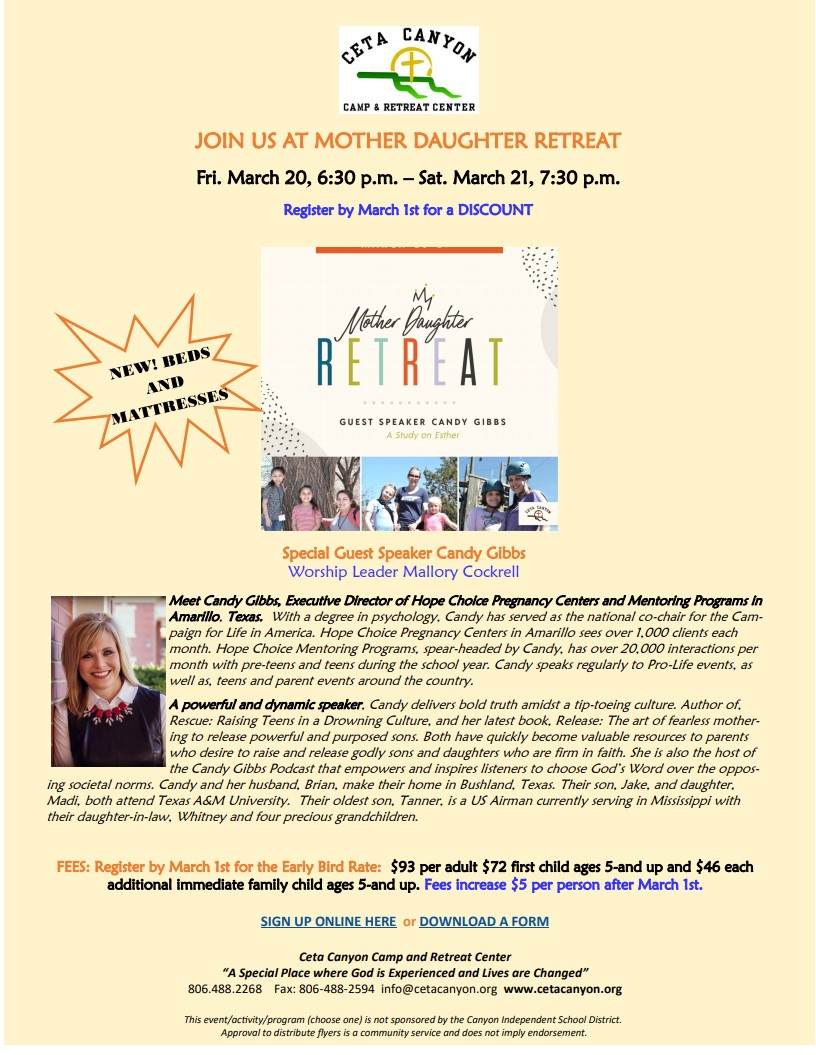 Mother Daughter Retreat   Ceta Canyon Camp  Retreat CenterMarch 20 21 2020DISCOUNT  REGISTER  by March 1st