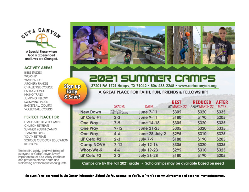 Summer Youth Camps at Ceta Canyon Camp  Retreat Center For campers 2nd   12th grade
