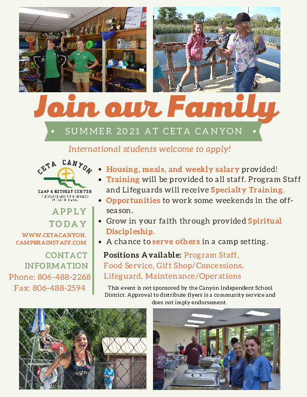 NOW HIRING   SUMMER STAFF  Food Service Concessions Lifeguard Maintenance Program Pool Archery High Ropes