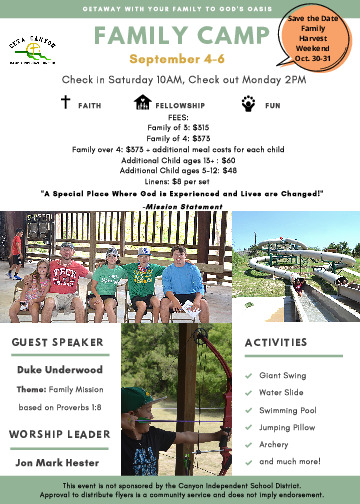 Bring your Family to Family Camp at Ceta Canyon Camp  Retreat Center and make Family Memories   September 4 6th