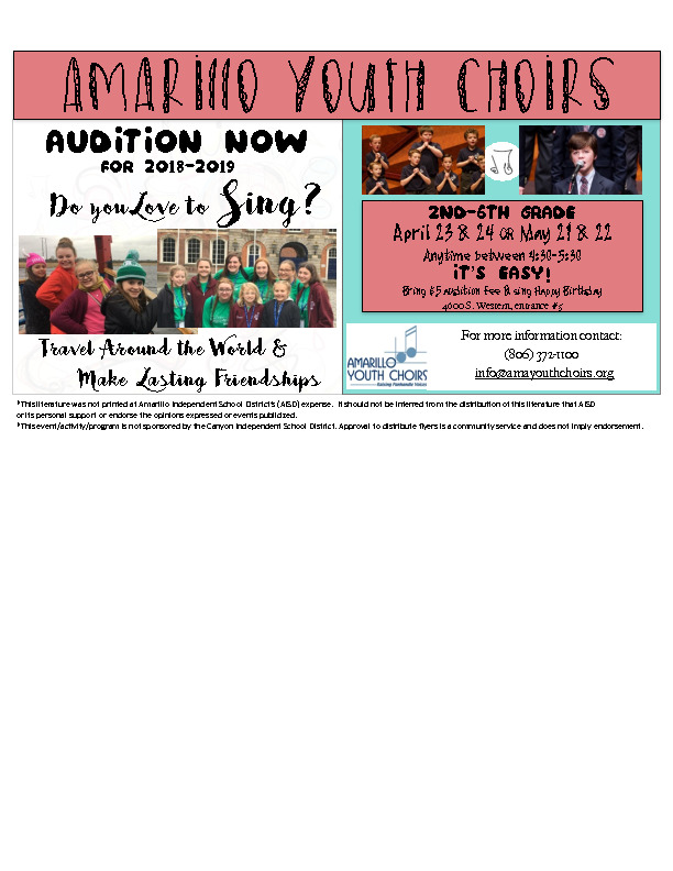 Amarillo Youth Choir auditions for 20182019 season Call 8063721100 for more informationvisit wwwamayouthchoirsorg