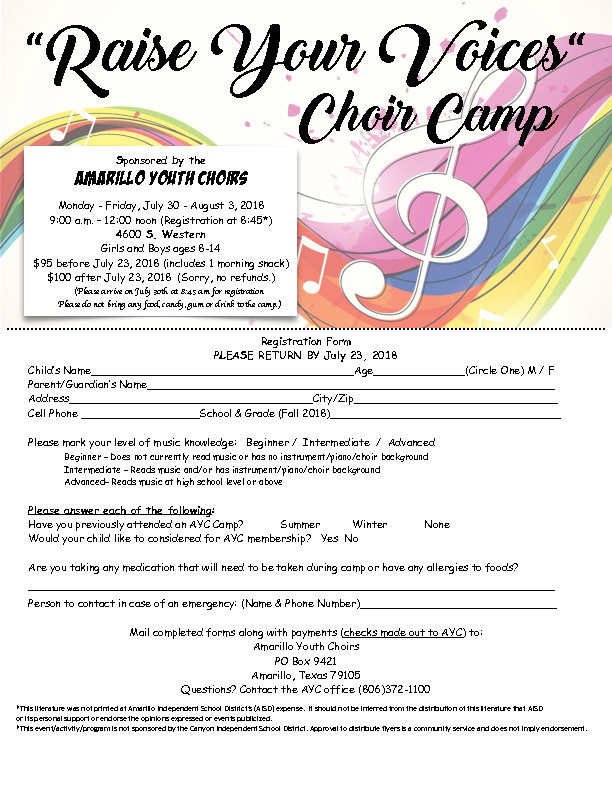 Choir Camp for ages 8 14 Visit wwwamayouthchoirsorg or call 806 372 1100