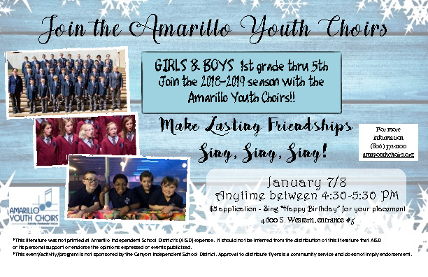 Amarillo Youth Choirs is auditioning for the 2nd semester Audition dates are January 7 or 8 between 430 530 pm