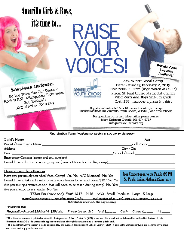 Raise Your Voices Camp with Amarillo Youth Choir is February 2 2019 at St Paul Methodist Church Cost 30 372 1100