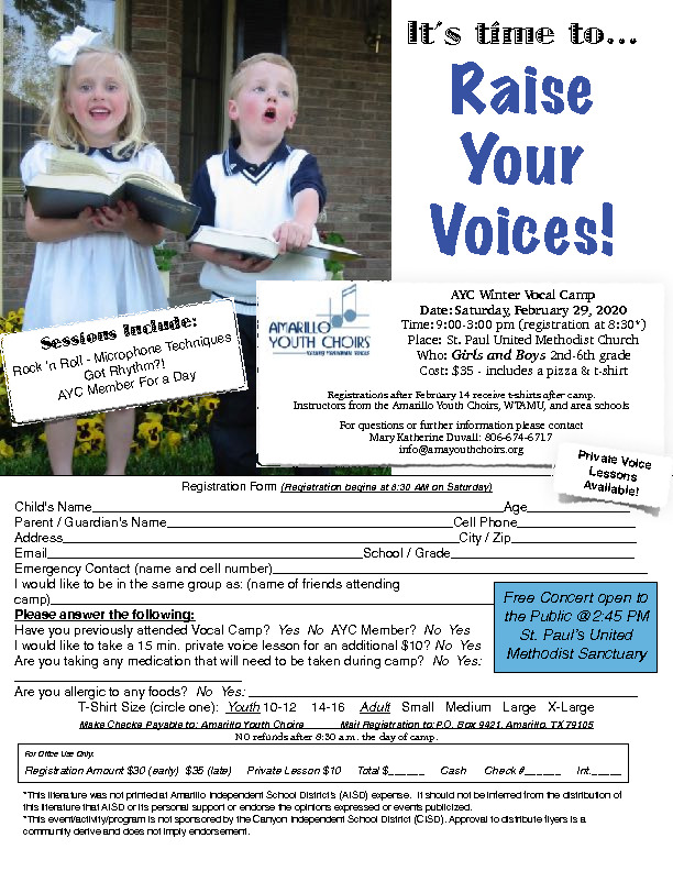 Amarillo Youth Choirs is hosting a vocal camp for boys and girls wwwamayouthchoirsorg or infoamayouthchoirsorg