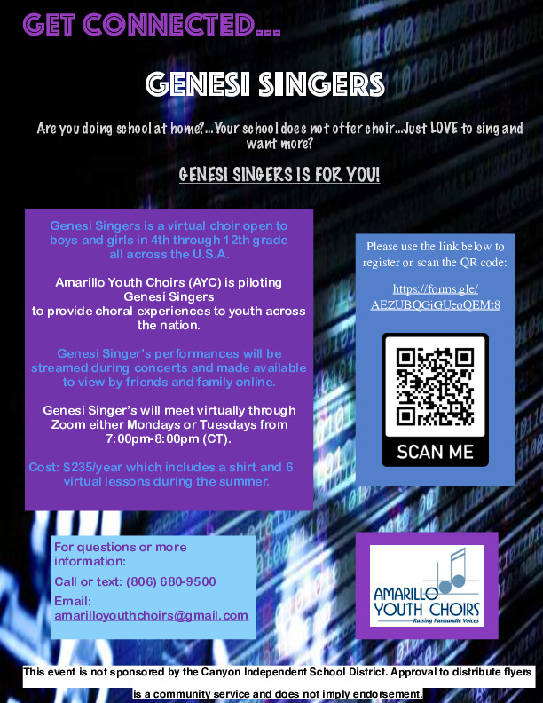 Genesi Singersa new virtual choir for Panhandle youth grades 4 12 presented by Amarillo Youth Choirs