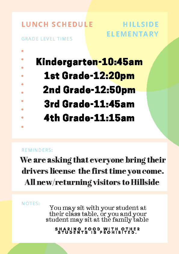 2018 19 grade level lunch times