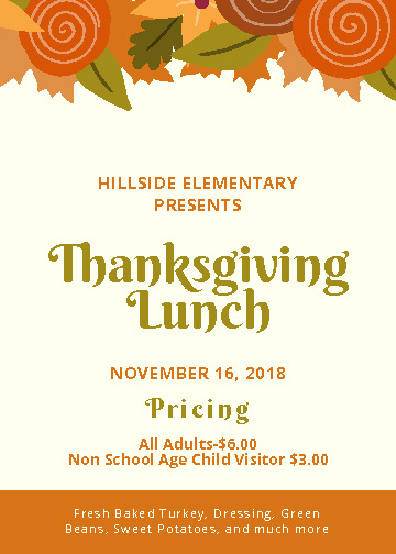Schedule and information for our annual Thanksgiving Lunch