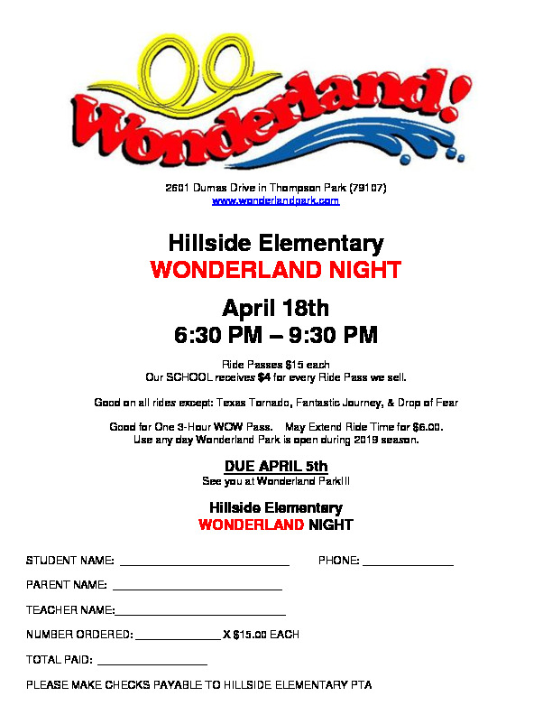 PTA sponsored night for Hillside Families with discounted ticket rate