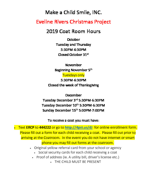 Evelyn Rivers Coat Room Hours