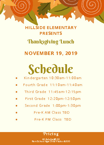 Lunch times for the school family lunch