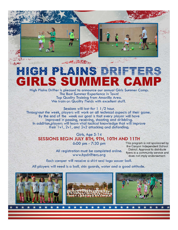HPD Girls Summer Camp Your player will work on all technical aspects of their game Camp Shirt and Ball Included