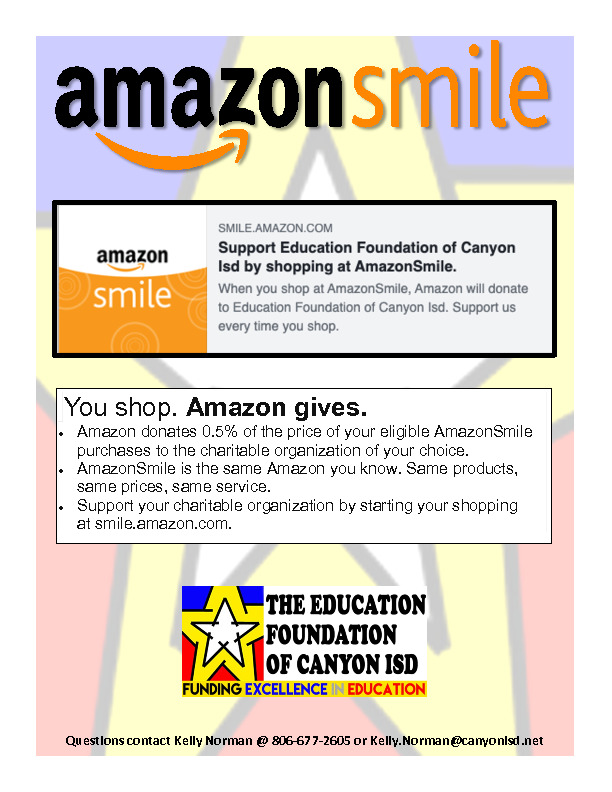 This flyer promotes an opportunity for our non profit to receive proceeds every time one shops at Amazon