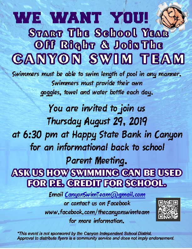 Canyon swim team is looking for new members