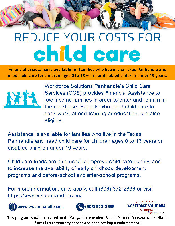 Child Care Services CCS offers assistance to enable low income families to work or attend training