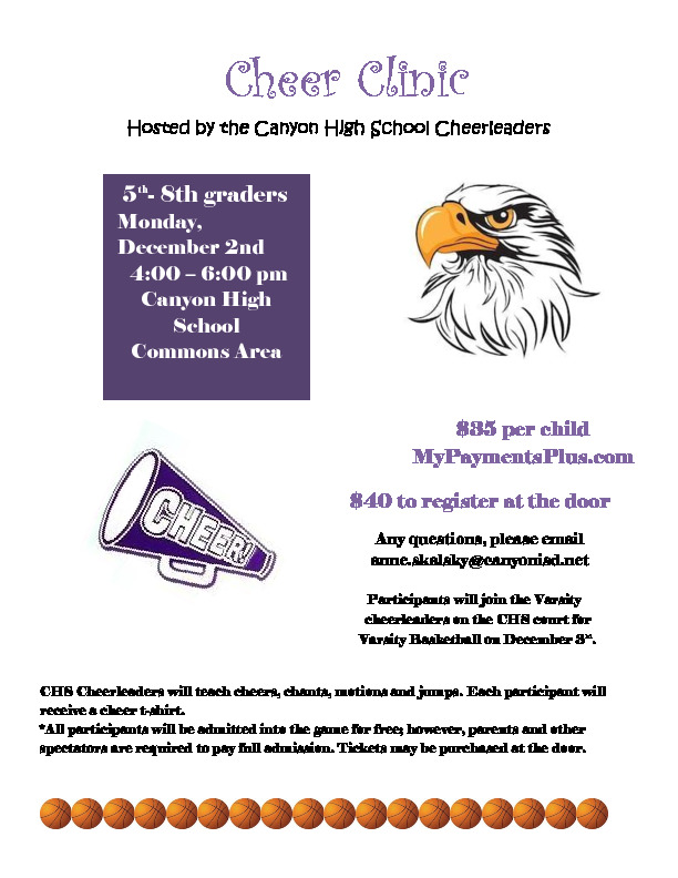 CHS Cheerleaders will teach cheers chants jumps and motions