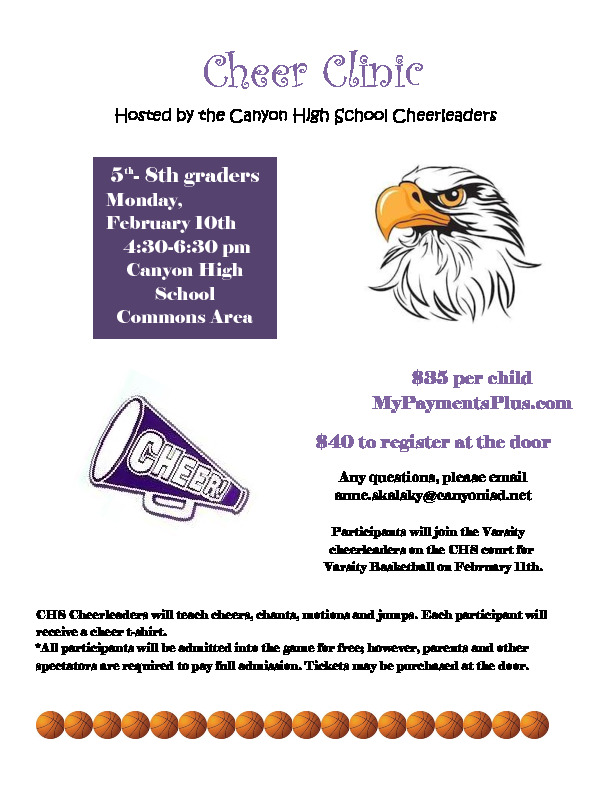 CHS Cheerleaders will teach 5th 8th grade cheers chants motions and a dance