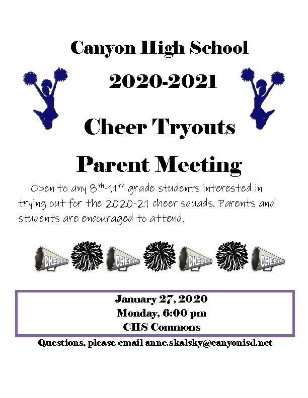 Parent meeting for 8th through 11th grade parentsstudents interested in trying out for the 2020 21 Cheer squad