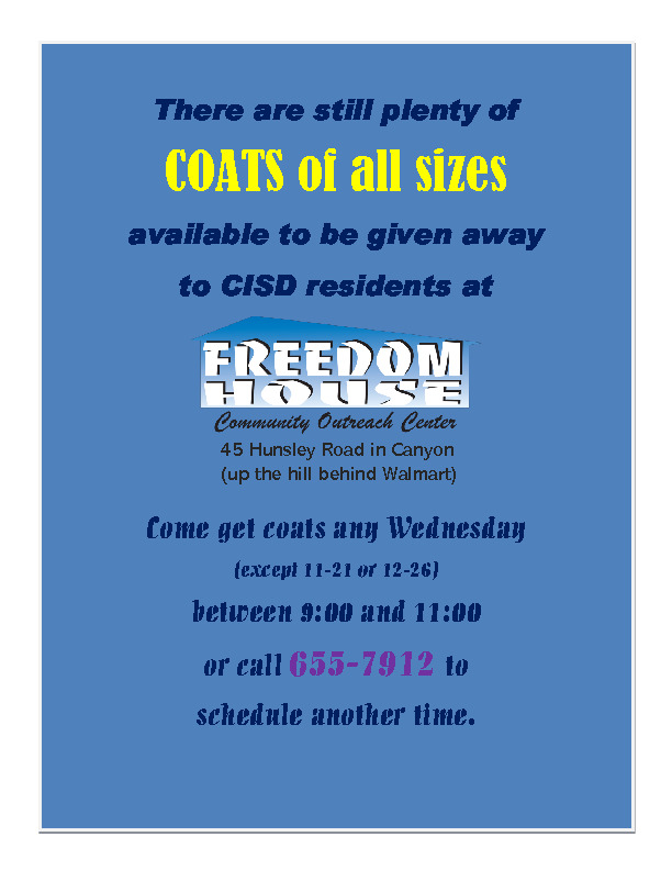 Still plenty of coats at Freedom House to be given away to CISD residents