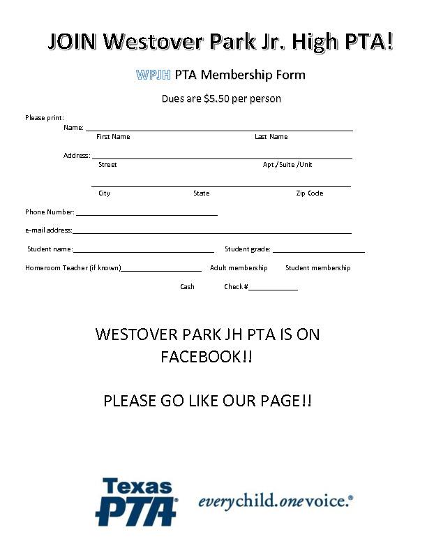 Westover PTA Membership Form