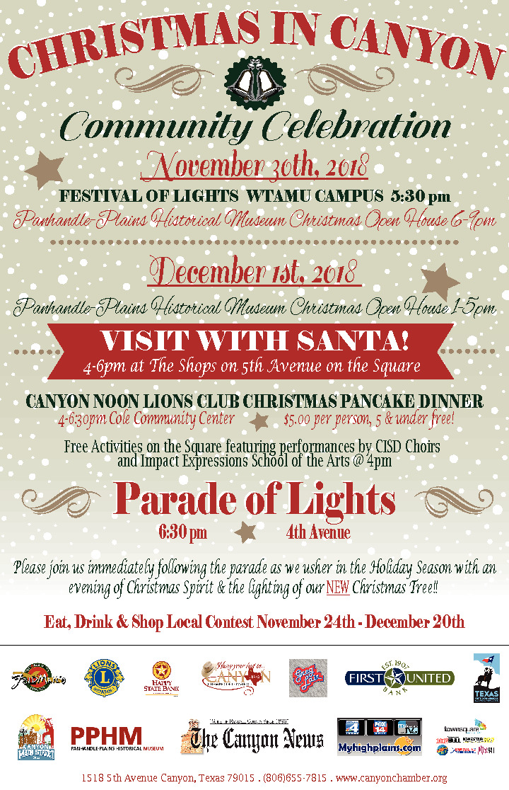 Schedule of Events for the 2018 Christmas in Canyon Celebration