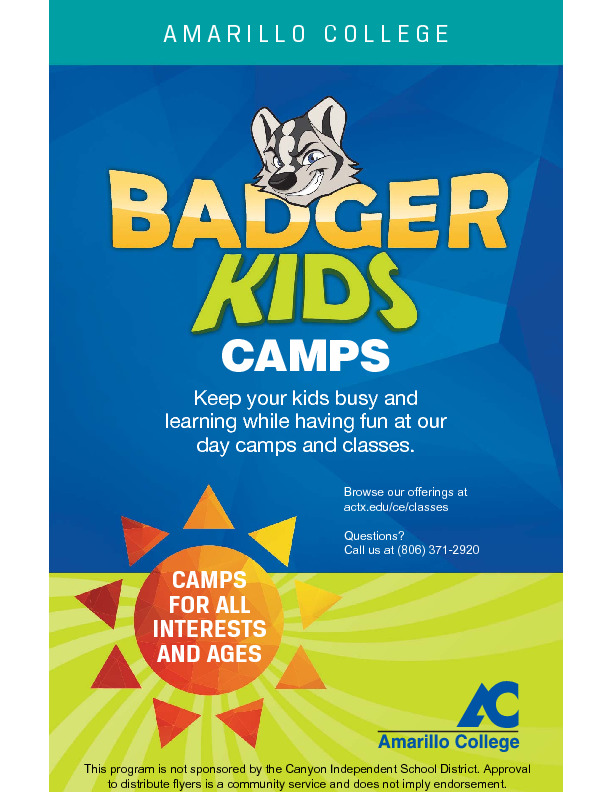 AC Kids College 2019 Summer Camps and ClassesBrowse  register at wwwactxeduceclasses Questions 806 371 2920