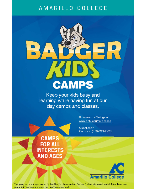 AC Badger Kids 2019 College Camps and Classes