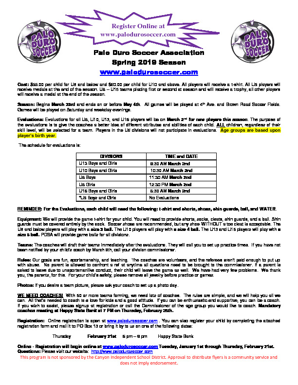 Palo Duro Soccer Association Spring 2019