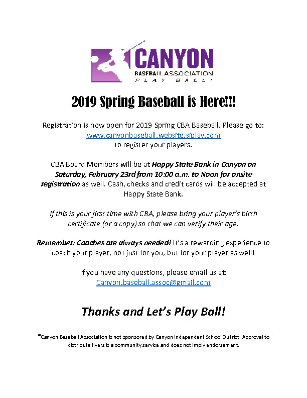 2019 Canyon Baseball Association Registration information