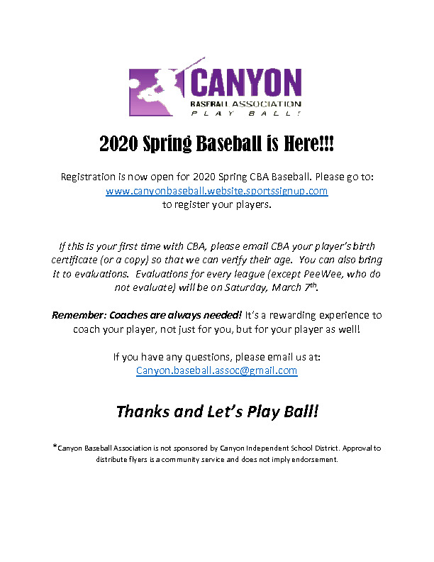2020 CBA Spring Season baseball registration is now open