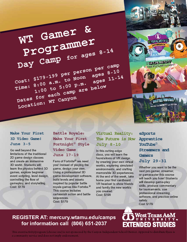 WT Gamer and Programmer Camp for ages 8 14  Cost 179 to 199 Dates and registration at mercurywtamueducamps