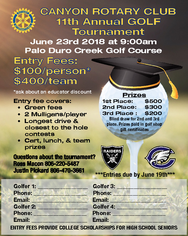 Canyon Rotary is hosting a golf tournament as a fundraiser that will help provide scholarships to Canyon and Randall HS