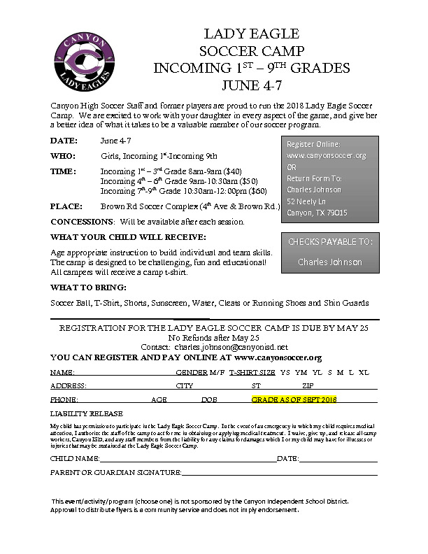 All 2018 Incoming 1st Through Incoming 9th girls are invited to our Lady Eagle Summer Soccer Camp