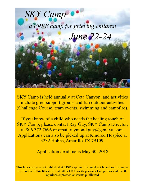 SKY Camp is a free camp for children 7 to 17 dealing with grief in losing a loved one This is our 21st year