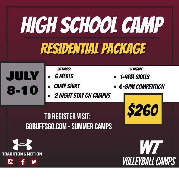 Come train with the Lady Buff Volleyball team Spots are limited For more information visit gobuffsgocom summer camps