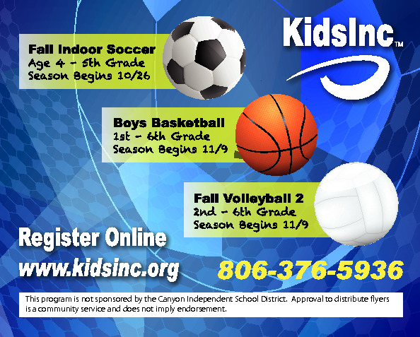 This is for the registration of Kids Inc Volleyball Basketball and Soccer