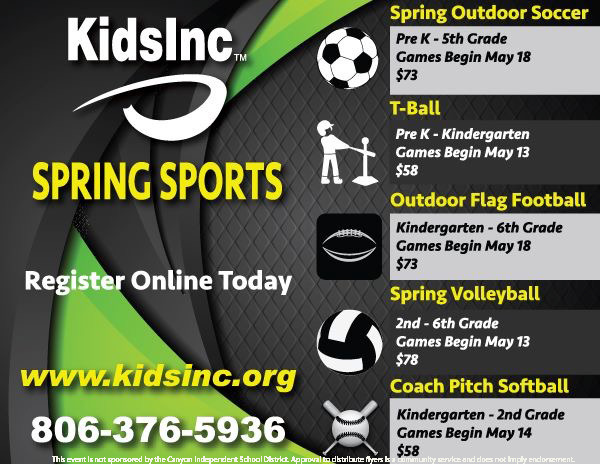 Spring Sports Sign Up Kids Incorporated