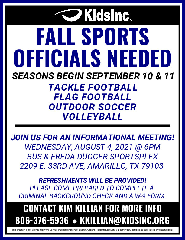 Kids Inc is looking for Football Soccer  Volleyball Officials Join us for an info meeting 84 at 6pm