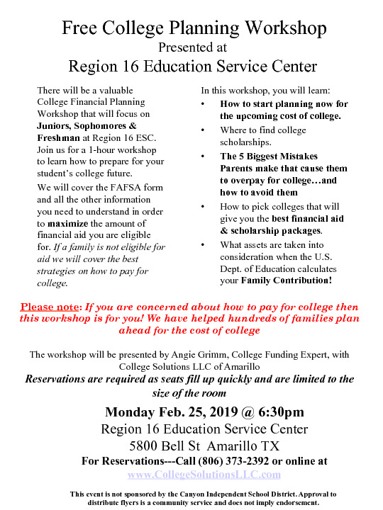 Free workshop for parents to learn about college admissions financial aid  scholarships
