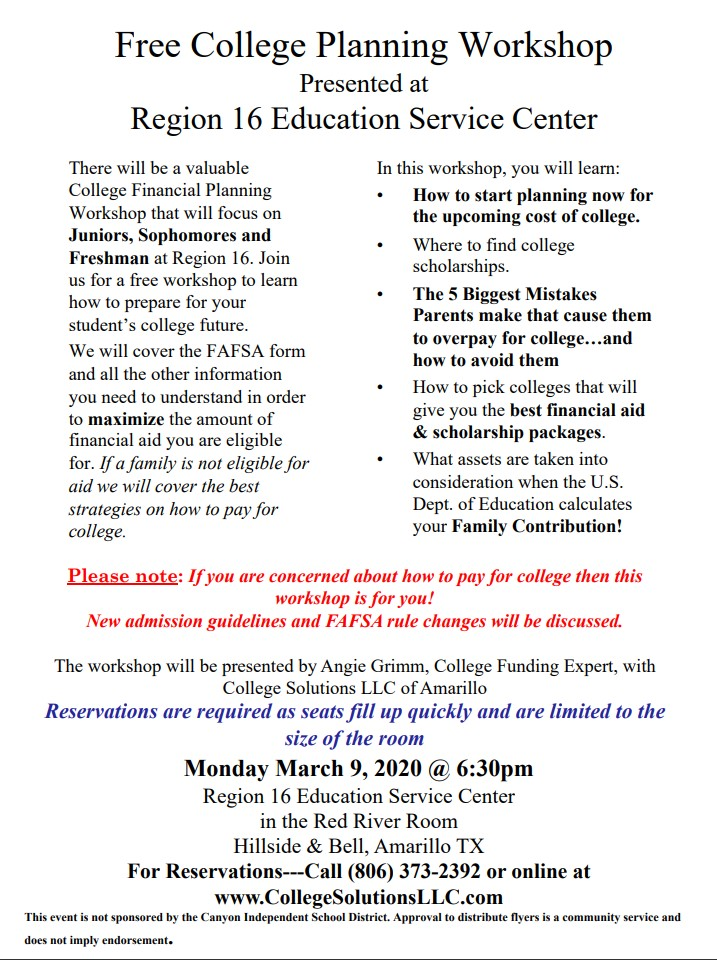 free workshop to educate students and parents on the college financial aid process