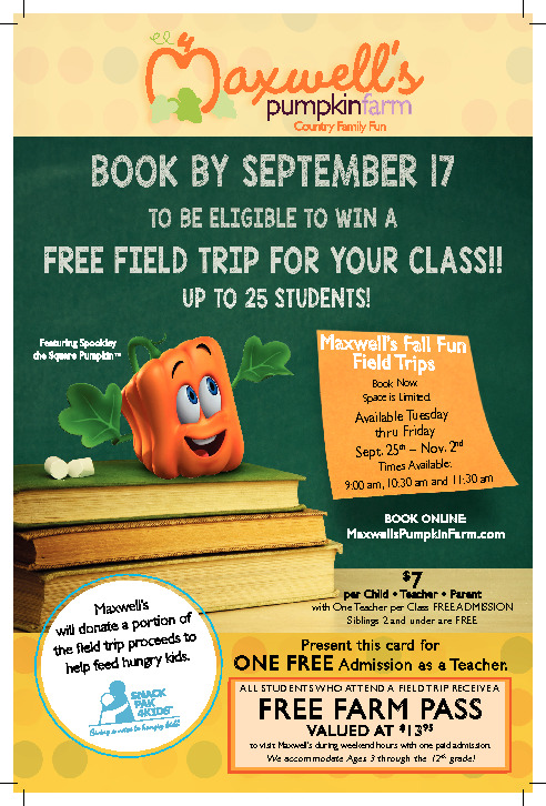This is a flyer geared toward teachers to encourage them to bring the students to the farm for educational field trips