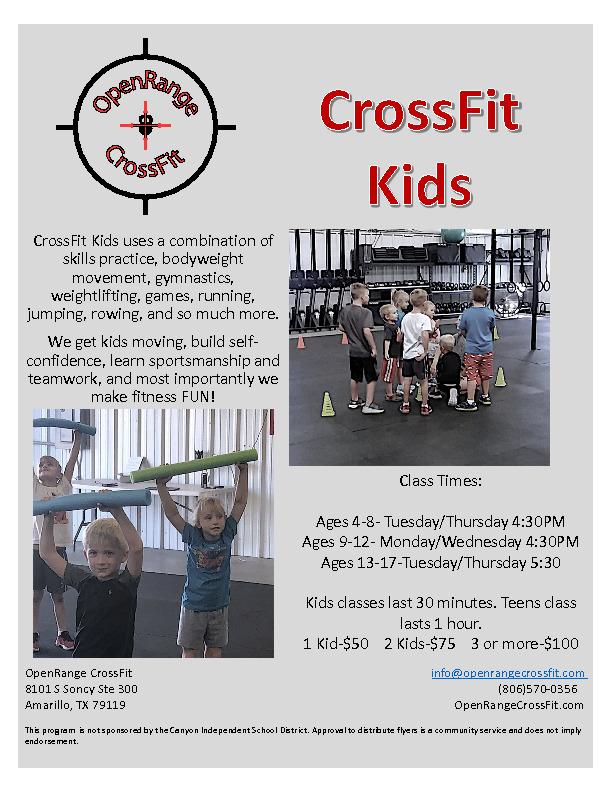 OpenRange CrossFit Kids Program30 minute classes get kids moving visit openrangecrossfitcom for additional information
