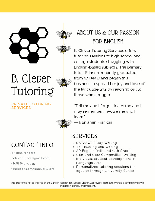 B Clever Tutoring Services offers tutoring sessions to high school and college students struggling with language arts