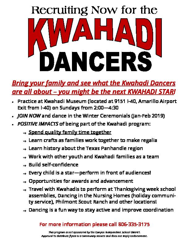 Join the Kwahadi Dancers