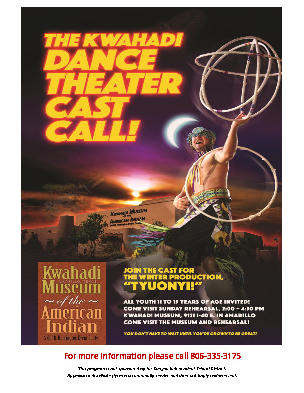 Cast call for Kwahadi Dancers