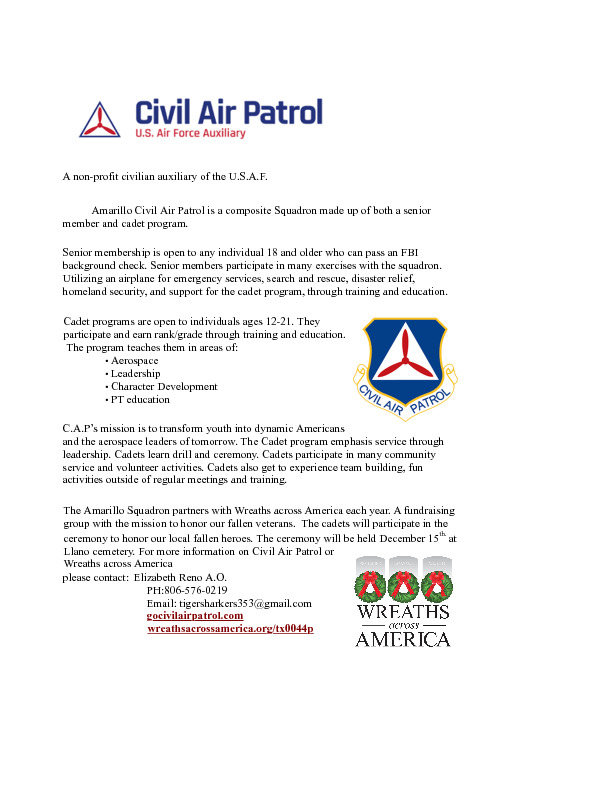 Introduction of the Civil Air Patrol Cadet Program