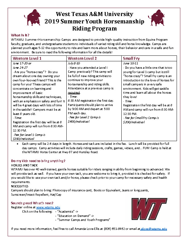 WTAMU Horsemanship camps have been offered for over 35 years with quality instruction and a safe riding environment