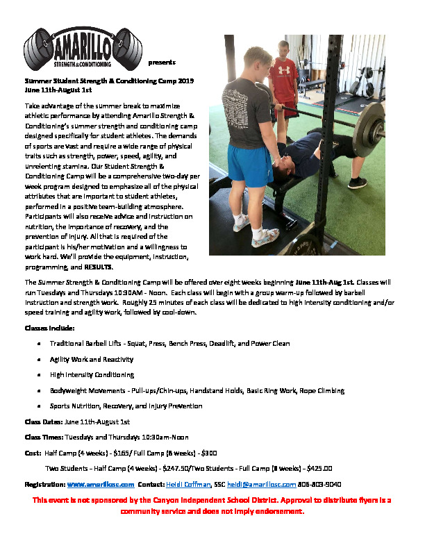 Amarillo Strength  Conditioning presents Summer Strength  Conditioning Camps for students